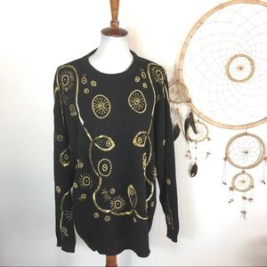 Vintage Beaded Gold and Black Sweater